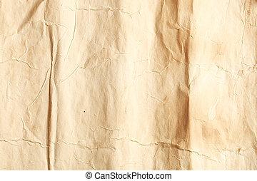 runzelig, papier, altes
