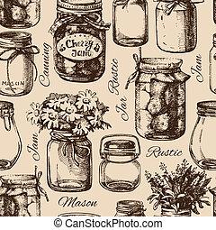 Rustikal, Maur und Konservengläser. Vintage Hand gezeichnet, nahtlos