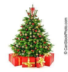 Rustische natürliche Weihnachtsbaum mit Geschenken.