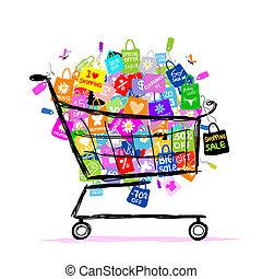 säcke, begriff, shoppen, groß, verkauf, design, korb, dein