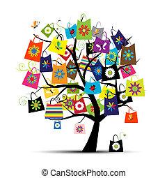 säcke, design, shoppen, dein, baum