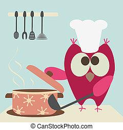 Süße Eule mit einem Bawl-Koch
