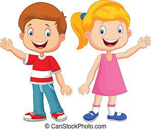 Süße Kinder winken mit der Hand.