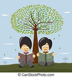 Süße kleine Mädchen lesen ein Buch unter dem großen Baum.