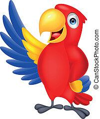 Süßer makawischer Vogel winkt