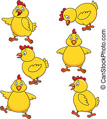 Süßes Hähnchen Cartoon-Set