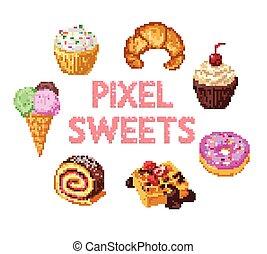 süßigkeiten, satz, pixel