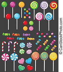 süßigkeiten, satz, zuckerl