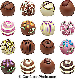 süßigkeiten, vektor, kakau