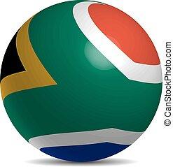 Südafrika Flagge auf einem 3D-Ball mit Schatten.