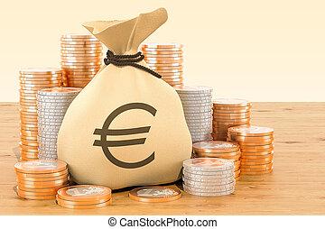 Sack mit Euro-Symbol und Euro-Münzen rund um den Holztisch. 3D Rendering