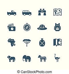 Safari-Vektor-Icon eingestellt.