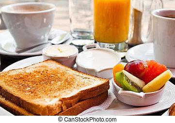 saft, frische früchte, orange, tisch, fruehstueck