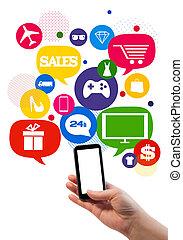 sales/shop, geschaeftswelt, schablone, online
