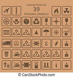 Sammlung von Verpackung simbols auf Backrownd.