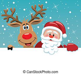 Santa Claus und rudolph Reh