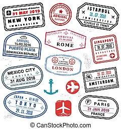 satz, briefmarke, reisepaß