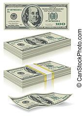 satz, dollar, banknoten