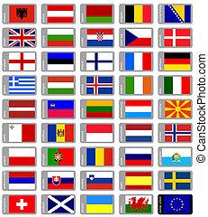 satz, flaggen, europäische