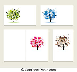 satz, geschaeftswelt, bäume, karten, design, blumen-, dein