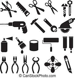 satz, heiligenbilder, arbeit, -, vektor, werkzeuge