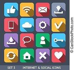 satz, heiligenbilder, sozial, langer, 3, vektor, internet, schatten