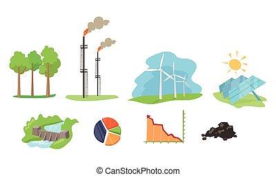 satz, hydro, solarstrom, wind, elektrizität, energie, abbildung, generation, einrichtungen, vektor, quellen, hintergrund, weißes