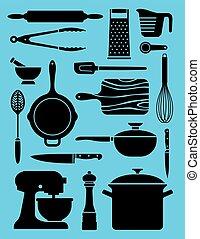 satz, küchengeschirr, 17, illustrations.