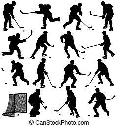 satz, player., freigestellt, silhouetten, hockey, white., illustrations.