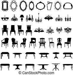 satz, silhouette, möbel
