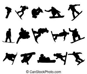 satz, silhouette, snowboarde, mann