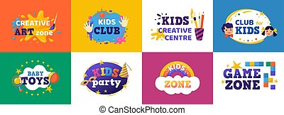 satz, spaß, bildung, bunte, spielen, kreuz, kinder, zimmer, spielzeuge, abzeichen, kinder, spielzeug, unterhaltung verein, zone, zeichen & schilder, vektor, kaufmannsladen, zone., banner.