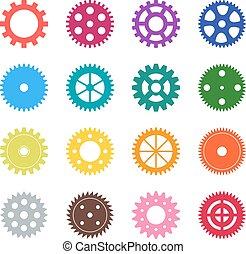 satz, stellen farbe, abbildung, vektor, räder