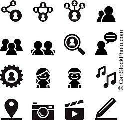 satz, vernetzung, medien, sozial, ikone