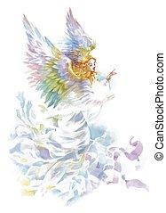 schöne , aquarell, illustration., engelsflã¼gel