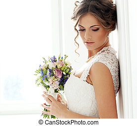 schöne , braut, wedding.
