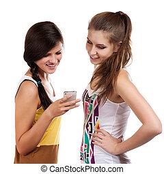 schöne , cellphone, empfangen, mädels, sms, junger, versenden, gebrauchend