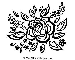 schöne , guipure, schwarzweiss, element, embroidery., design, nachahmung, blumen-, blumen, blätter, element.