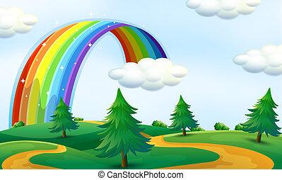 Schöne Landschaft mit Regenbogen.