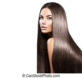 Schöne lange Haare. Schöne Frau mit geraden schwarzen Haaren isoliert auf weiß