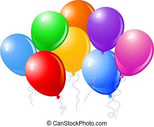 schöne , party, acht, luftballone