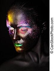 schöne , plastik, ungewöhnlich, frau, kunst, bunte, foto, aufmachung, maske, gesicht, hell, schwarz, modell, kreativ