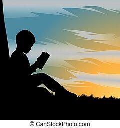 schöne , sonnenuntergang, unter, buch, kind, lesende , silhouette, baum, während