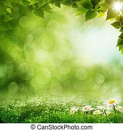 Schöner Morgen im grünen Wald, Öko-Hintergrund