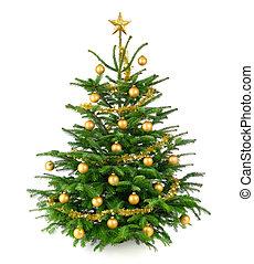 Schöner Weihnachtsbaum mit goldenen Schmuckstücken.