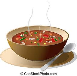 schüssel, suppe, gemüse, heiß