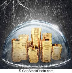 schützen, begriff, geld, protection., übertragung, savings., versicherung, 3d