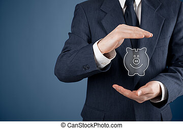 schützen, finanziell, spareinlagen