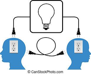 Schalten Sie die Leute ein, verbinden Sie die Lichtverbindung