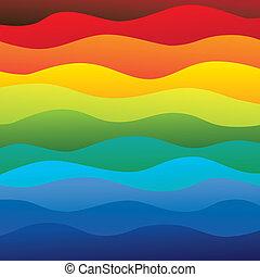 schichten, regenbogen, bunte, &, dieser, beschwingt, abstrakt, enthält, -, spektrum, abbildung, ozeanwasser, farben, vektor, glatt, hintergrund, wellen, (backdrop), graphic.